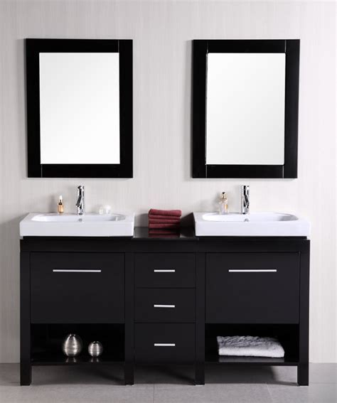 60 Inch Double Sink Bathroom Vanity with Open Shelves