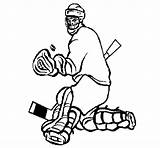 Stopping Puck Goaltender Coloring Coloringcrew Hockey sketch template