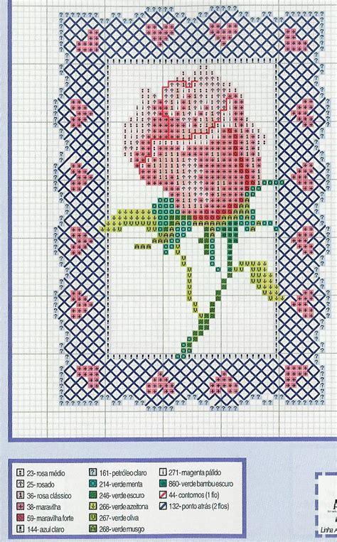 cornice a punto croce bocciolo di rosa con cornice schema punto croce gratis
