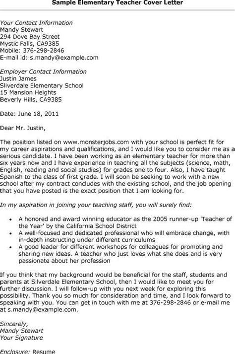 cover letter template  resume  teachers elementary