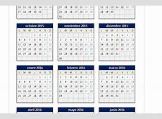 Calendario 20152016 en Excel PlanillaExcelcom