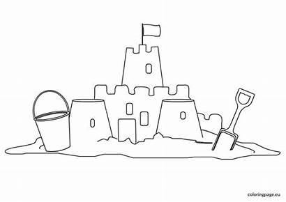 Sand Castle Coloring Template Clip Drawing Coloringpage