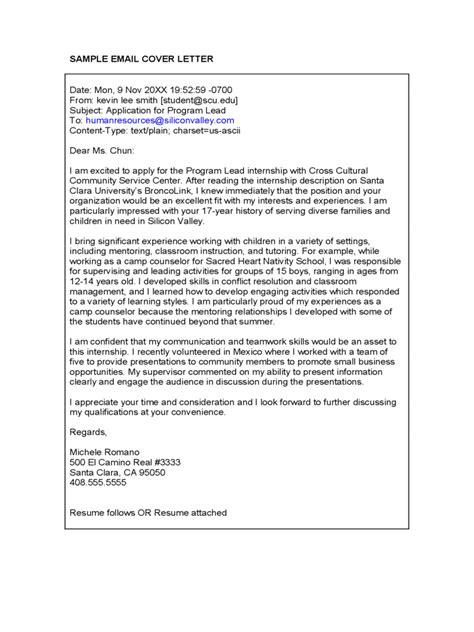 sle friendly letter email cover letter 2 sle cover letter email best letter 65264