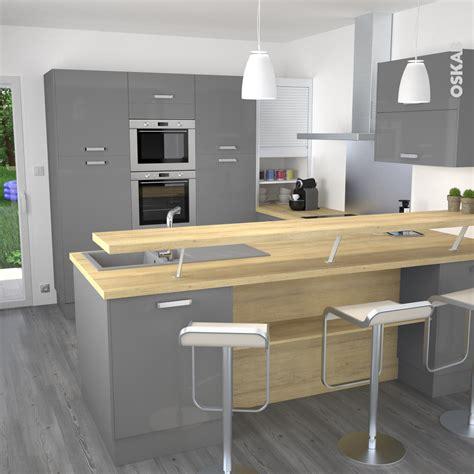 modele cuisine en u cuisine grise moderne façade stecia gris brillant volet