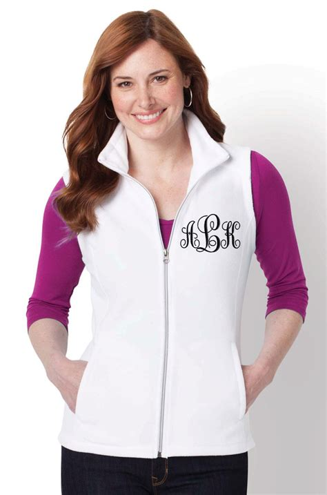 monogrammed fleece vest embroidered ladies monogram monogram vest fleece vest womens fleece