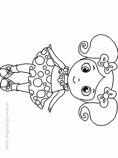Coloring Dolls Doll Colouring Draw Pretty Clipart