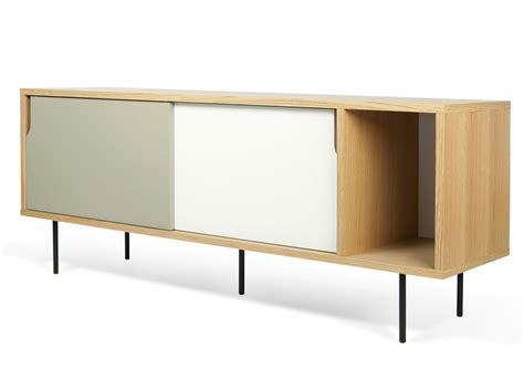 buffet bas meuble tv en bois placage chene dann
