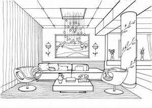 living room with fireflies coloring page free printable With interior design coloring books