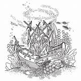 Ship Sunken Coloring Reef Coral Drawing Pages Underwater Ancient Shipwreck Ocean Fish Drawings Line Vector Clipart Pirate Sea Illustrations Under sketch template