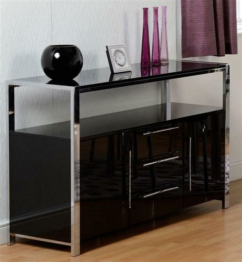 Black And Chrome Sideboard by Charisma Black 2 Door 3 Drawer Sideboard High Gloss Unit