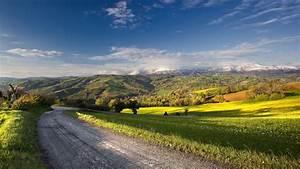 Fonds d'écran Road, ferme, campagne, été, ciel bleu ...