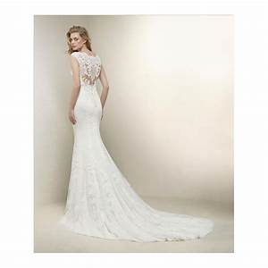 pronovias drusila lace v neck line wedding dress stunning With fitted lace wedding dress