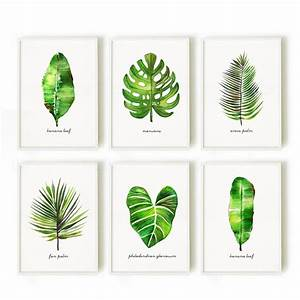Palm leaf watercolor painting set of 3 botanical painting for What kind of paint to use on kitchen cabinets for palm frond wall art