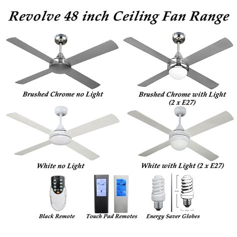Quietest Ceiling Fans Australia by Revolve 48 Inch 4 Blade Ceiling Fan In Brushed Chrome Or