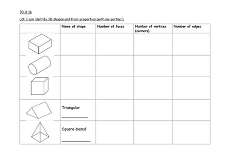 3d shape properties worksheet year 2 by pipmoss12 teaching resources