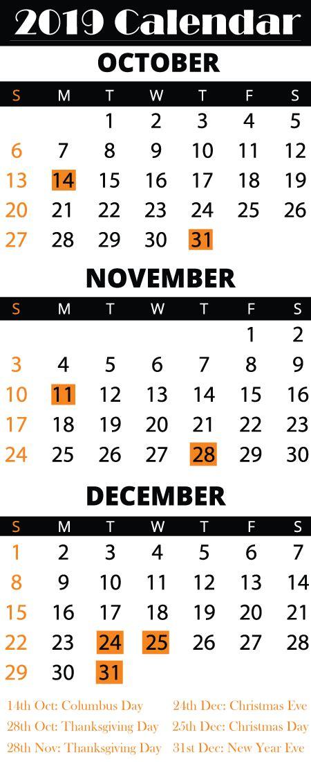 october november december  calendar printable