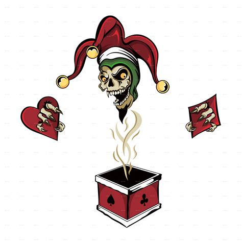 Two the joker playing cards, harley quinn joker youtube drawing, joker, comics, heroes, dc comics png. Zombie Joker Skull In A Box by RLopez555   GraphicRiver