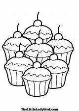 Cupcake Coloring Pages Printable Simple Cake Drawing Food Pastry Cup Muffin Adult Cupcakes Colouring Sheets Easy Cakes Kitty Hello Cream sketch template