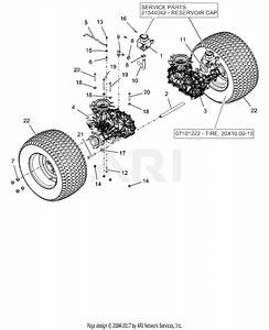 Ariens 915201  000101 -   Ikon-xl 52 Parts Diagram For Rear Tires And Transaxles