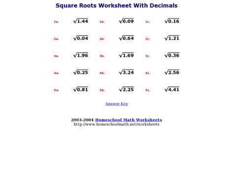Square Roots Worksheet With Decimals Worksheet For 7th  8th Grade  Lesson Planet