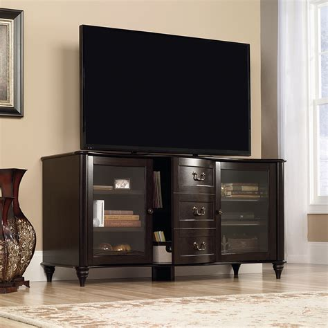 tv credenza black sauder new albany entertainment credenza