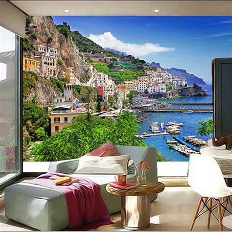 custom  murals italy houses marinas mountains