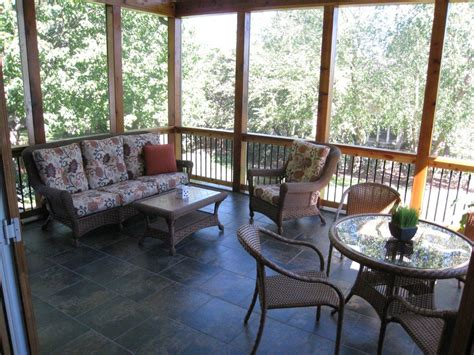 Porch Tiles by Overland Park Ks Screened Porch Archadeck Of Kansas City