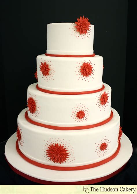 Red And White Wedding Cake The Hudson Cakery
