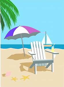 Tropical Graphic, Hawaii Beach Scene Clip Art