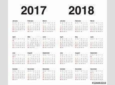 Simple Calendar template for 2017 and 2018 Buy this