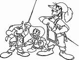 Musketeers Coloring Three Pages Disney Mickey Donald Mouse Duck Goofy sketch template
