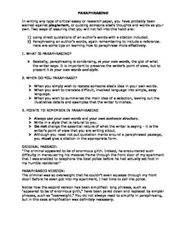 paraphrasing worksheet by the tip top teachers pay teachers