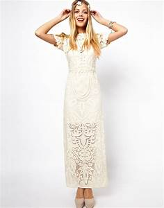 asos salon applique lace maxi dress in natural lyst With robe blanche asos