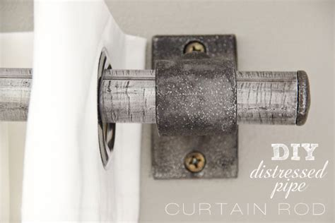 diy pipe curtain rod diy painted stripe curtains and distressed pipe curtain