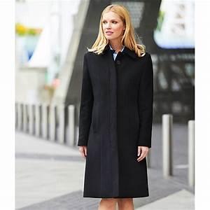 Manteau Femme, Noir, Laine et Cachemire, Coupe droite, Doublure en satin