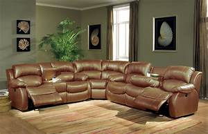 leather sectional sofa with recliners in brown