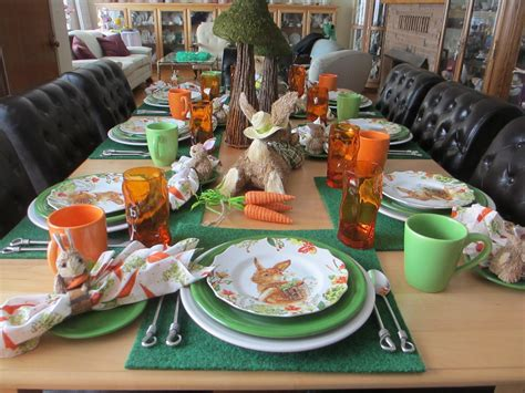 welcomed guest easter bunnies  carrots table