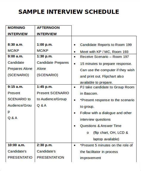 interview schedule 57 sle schedules free premium templates