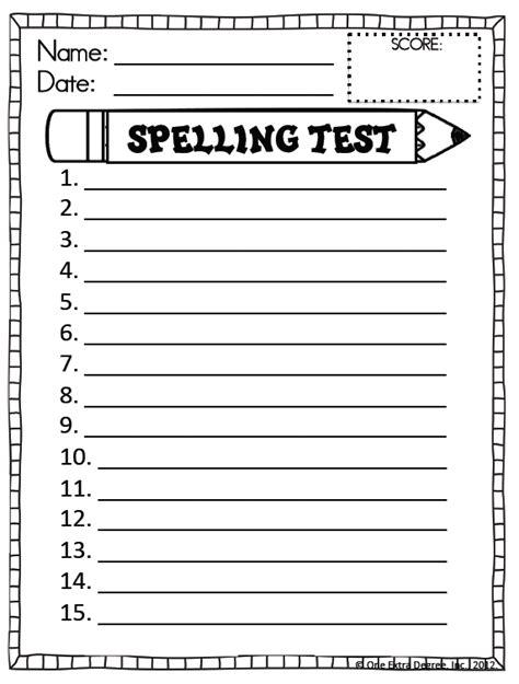 Spelling Test Template Spelling Test Template New Calendar Template Site