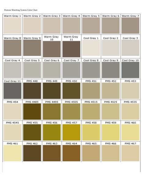 pantone matching system color chart free