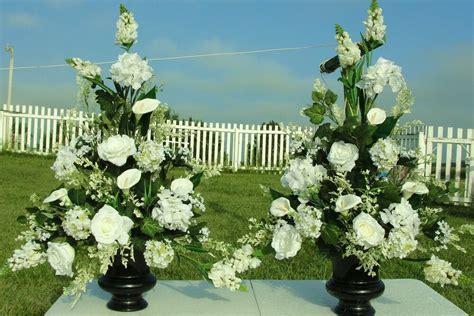 silk flower arrangements church pew wedding altar vase
