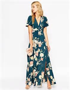 maxi wedding guest dress asos asos wedding maxi dress with wrap front in floral bloom at asos