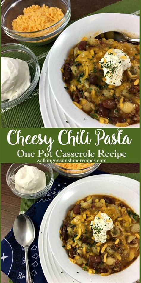 Cheddar cheese, shredded 1/2 c. Cheesy Chili Pasta Casserole | Recipe | Chili pasta, Pasta, Food recipes