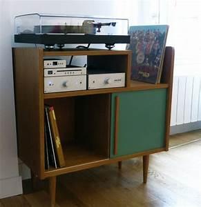 Meuble Pour Vinyle : meuble hi fi lignes 50 39 s atelier monsieur madame meubles pinterest vinyles meuble ~ Teatrodelosmanantiales.com Idées de Décoration