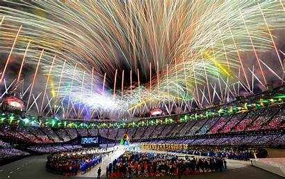 Stadium Celebration Fireworks Olympics Fire Wallpapers Wallpaperup