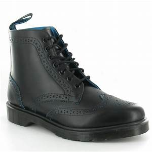 Dr Martens Anthony Mens Leather Brogue Boots in Black & Blue at Scorpio Shoes