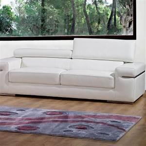 Canape 3 places en cuir blanc thomas achat vente for Canapé 3 places pour deco maison soldes