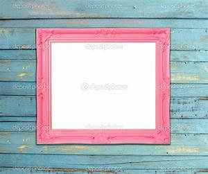 Pink Vintage picture frame on blue wood background — Stock ...