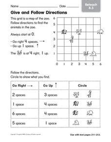 give and follow directions reteach worksheet for 1st