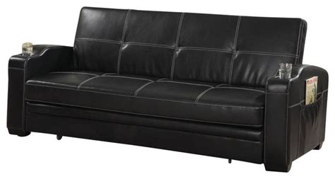 leather futon with cup holders coaster furniture faux leather sofa bed sleeper